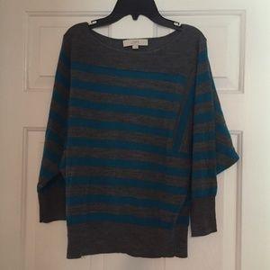 LOFT Dolman 3/4 Sleeve Striped Sweater- SMALL